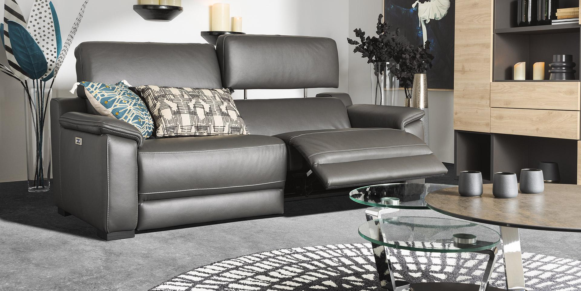 canape relax en cuir gris anthracite